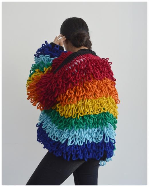 Rainbow Loopy Cardi