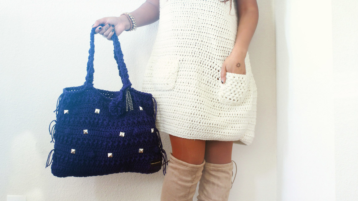 The Studded One Crochet Handbag.