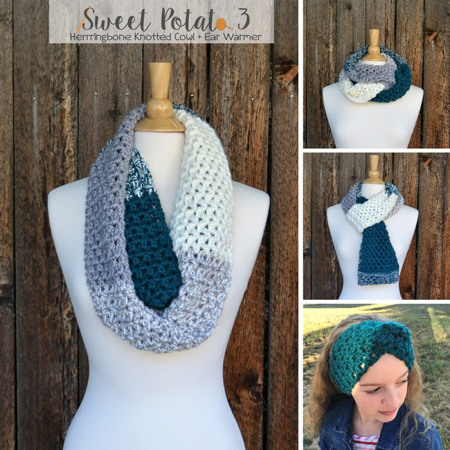 Herringbone Knotted Cowl & Ear Warmer