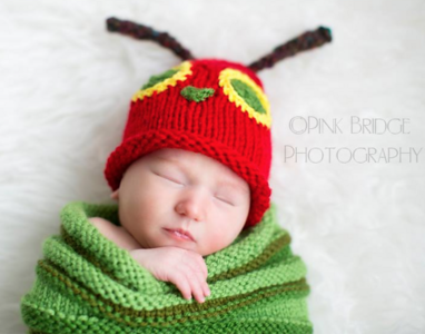 Very Hungry Caterpillar Inspired Swaddle Sack and hat