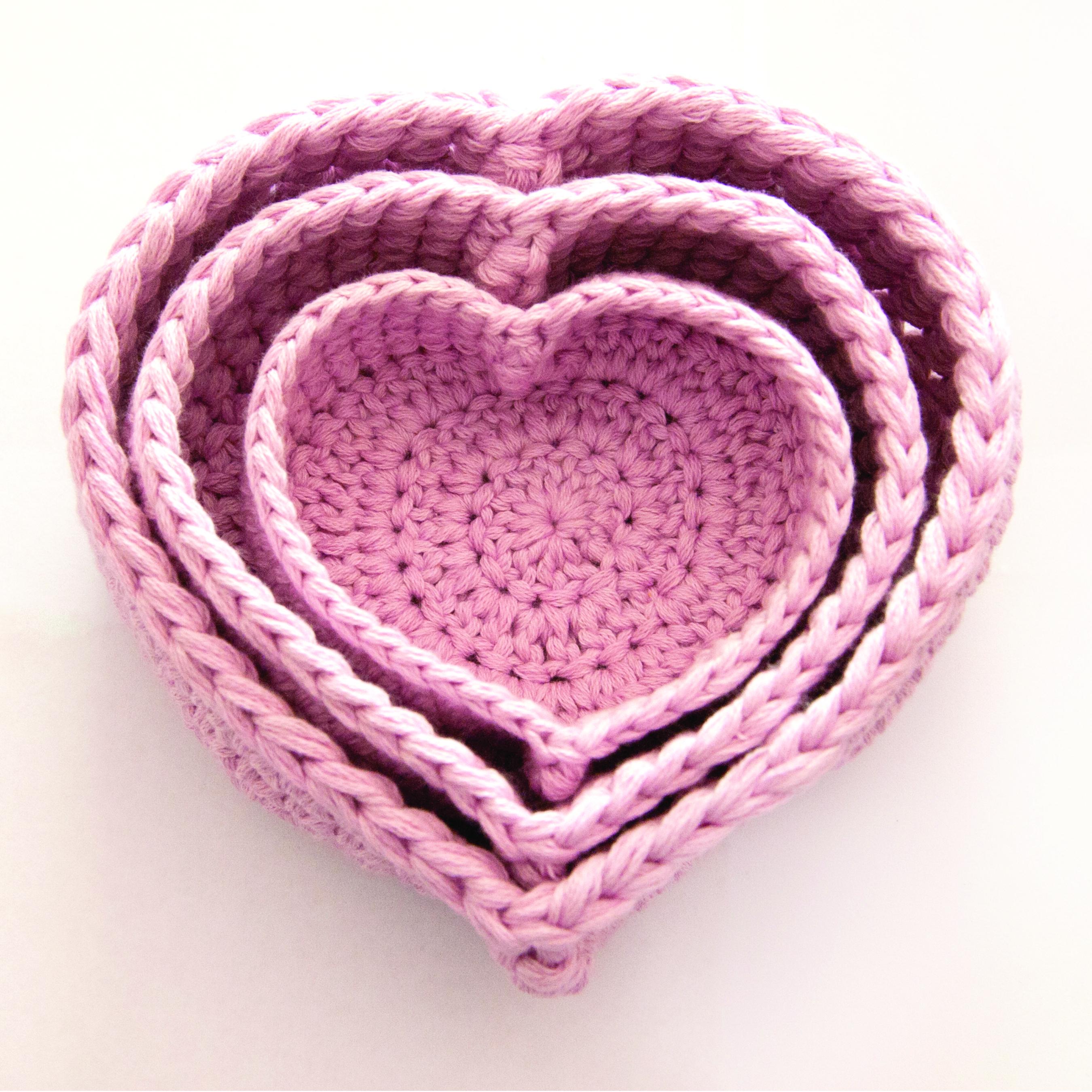Trio of Heart Nesting Baskets