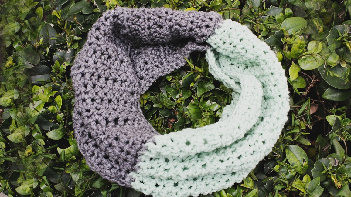 The Color Blocked Crochet Infinity Scarf