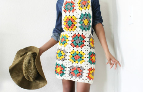 The G. Square Crochet Overall Dress.
