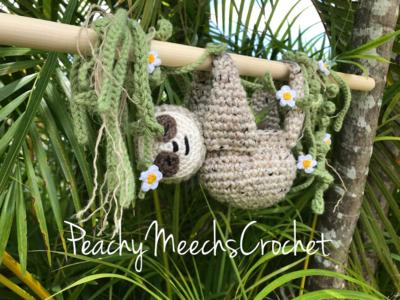 Sloth Plant Hanger with Vines and Flowers
