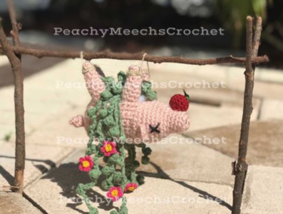 Hanging Roasted Pig with Apple Planter