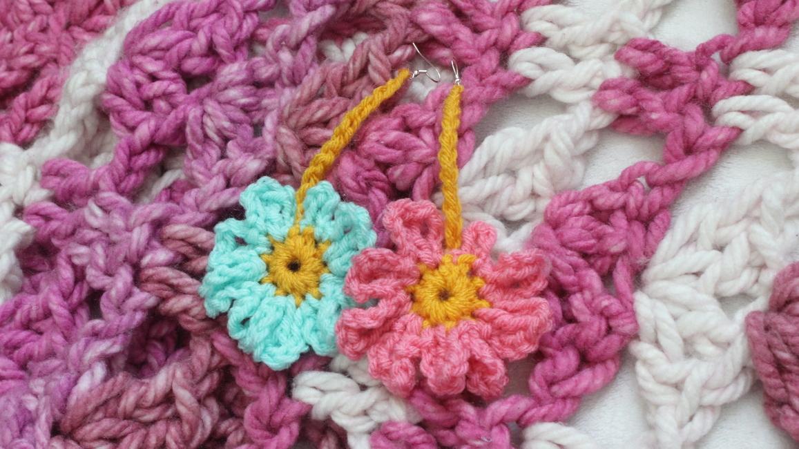 The Flower Power Crochet Bandeau Top & Earrings.