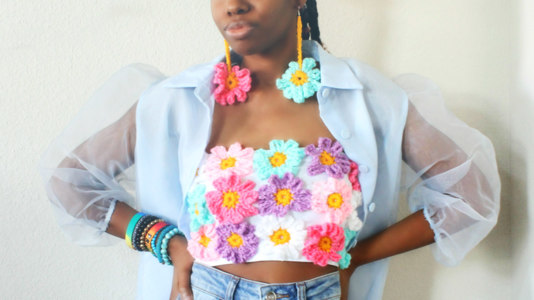 The Flower Power Crochet Bandeau Top & Earrings.