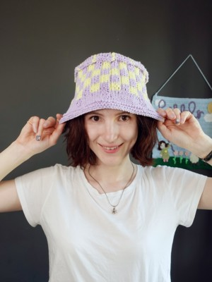 Checkered Knitted Bucket Hat
