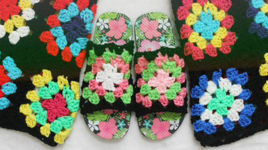 The Granny Square Studded Sandals.