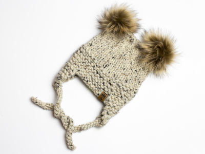 Ear Flaps Hat Winter Ears Double Pompom Toque Baby Children