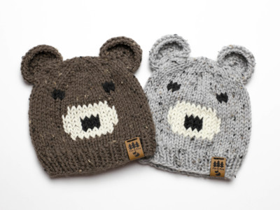 Bear Face Ears Worsted Weight Hat