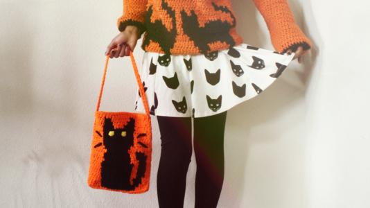 The Halloween Cat Crochet Tote