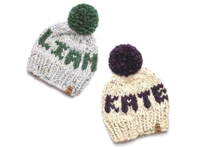 Personalized Name Hat Winter Pompom Initials