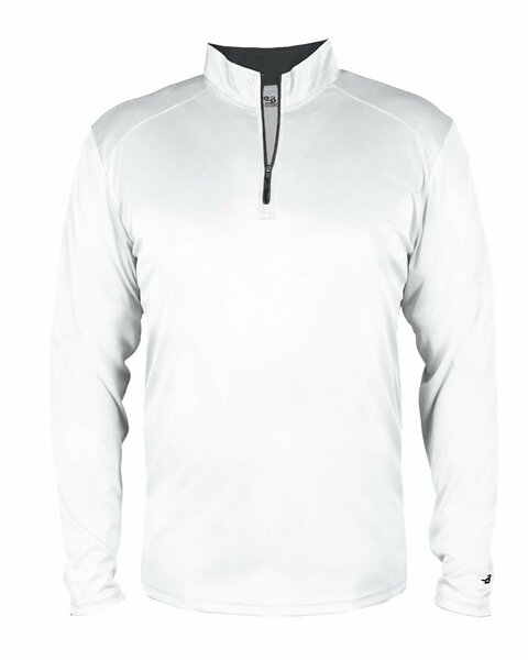 White Adult XL Long Sleeve 1/4 Zip Pullover Wicking Sports Jacket