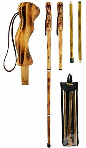 """Rustic Axentz Compact Assembled Collapsible Folding Wood Trekking Hiking Pole with Handle, 55"""""""