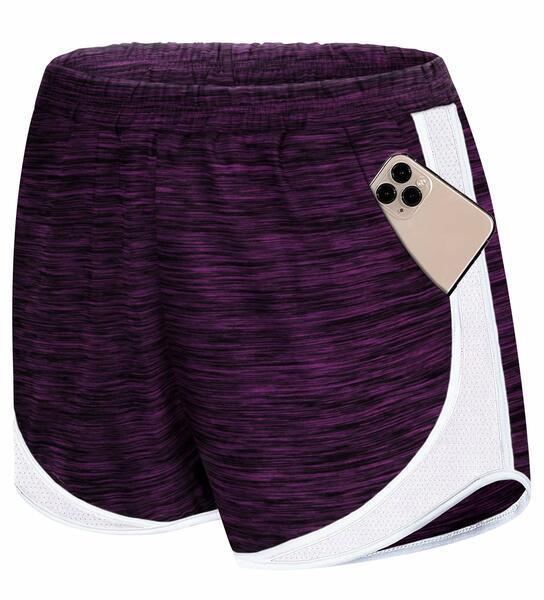 Koscacy Women Banded Waist Double Layer Fitness Running Workout Lounge Shorts with Pockets