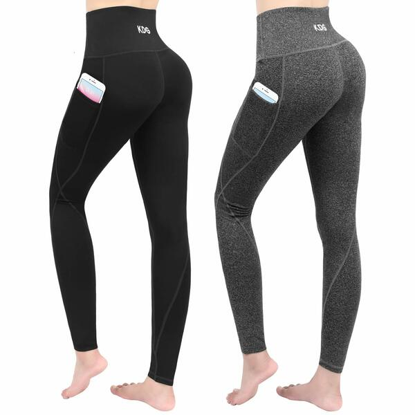 KDG 2 Pack High Waist Yoga Pants with Pockets,Tummy Control Workout Running Pants, Naked Feeling Leggings for Women