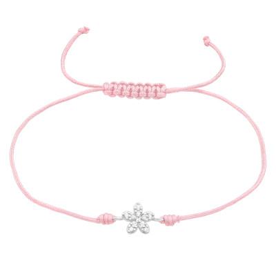 Children's Silver Flower Adjustable Corded Bracelet with Cubic Zirconia