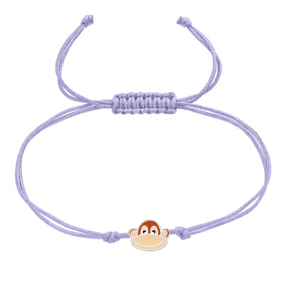 Children's Silver Monkey Adjustable Corded Bracelet with Epoxy