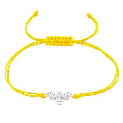 Silver Bee Adjustable Corded Bracelet