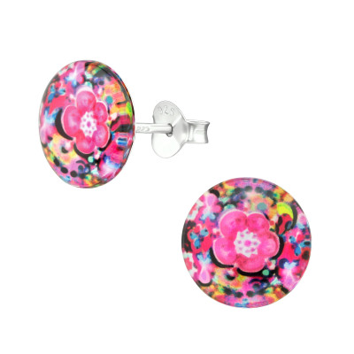 Children's Silver Abstract Ear Studs