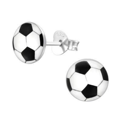 Children's Silver Football Ear Studs