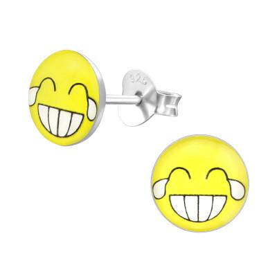 Children's Silver Laugh Face Ear Studs