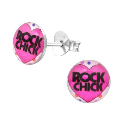 Children's Silver ROCK CHICK Ear Studs