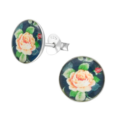 Children's Silver Rose Print Ear Studs