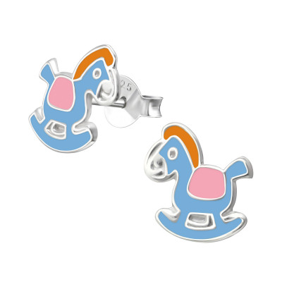 Children's Silver Rocking Horse Ear Studs with Epoxy