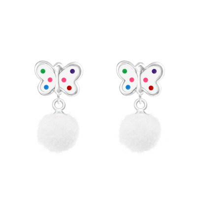 Children's Silver Butterfly Ear Studs with Epoxy and Hanging Pom Pom