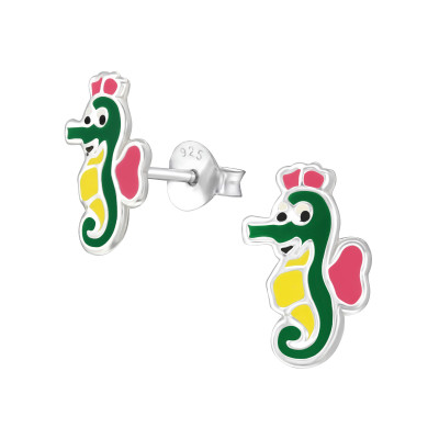 Children's Silver Seahorse Ear Studs with Epoxy