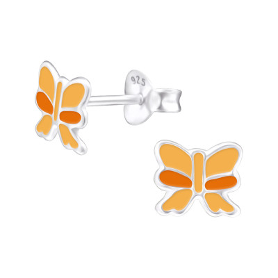 Children's Silver Ribbon Ear Studs with Epoxy