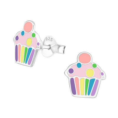 Children's Silver Cupcake Ear Studs with Epoxy