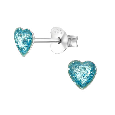 Children's Silver Heart Ear Studs