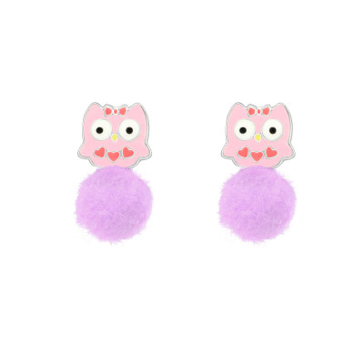 Children's Silver Owl Ear Studs with Epoxy and Pom Pom