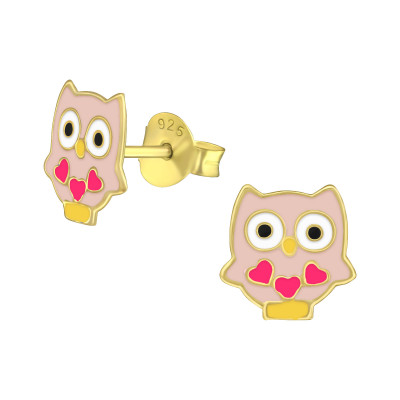 Owl Children's Sterling Silver Ear Studs with Epoxy