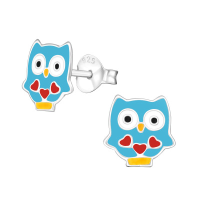 Children's Silver Olw Ear Studs with Epoxy
