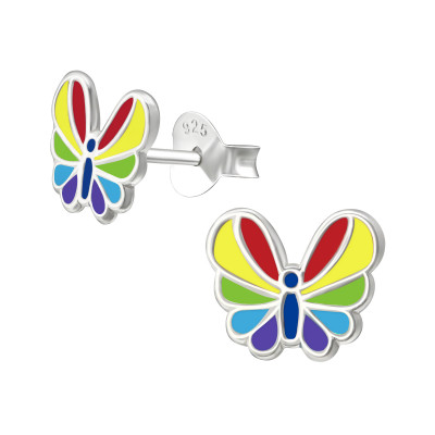 Children's Silver Butterfly Ear Studs with Epoxy
