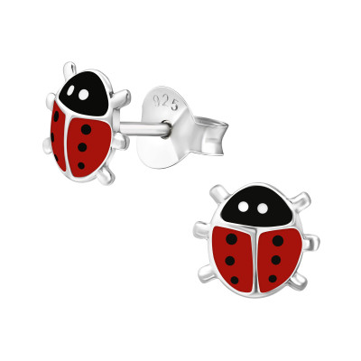 Children's Silver Ladybug Ear Studs with Epoxy