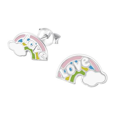 Children's Silver Rainbow Ear Studs with Epoxy