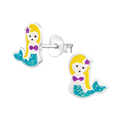 Children's Silver Mermaid Ear Studs with Epoxy