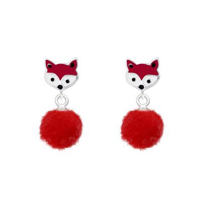 Children's Silver Fox Ear Studs with Epoxy and Hanging Pom Pom