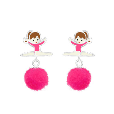 Children's Silver Ballerina Ear Studs with Epoxy and Hanging  Pom Pom