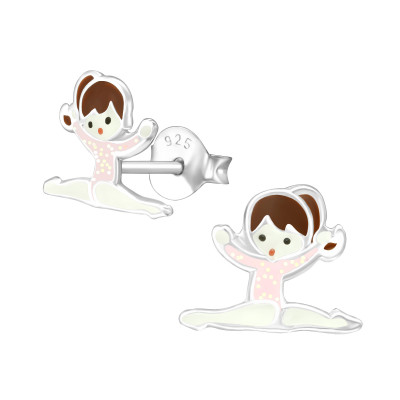 Children's Silver Gymnastics Girl Ear Studs with Epoxy