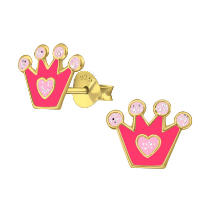 Children's Silver Crown Ear Studs with Epoxy