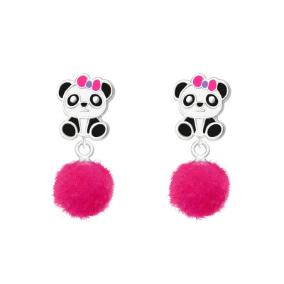 Children's Silver Panda Ear Studs with Epoxy and Hanging  Pom Pom