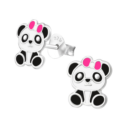 Children's Silver Panda Ear Studs with Epoxy