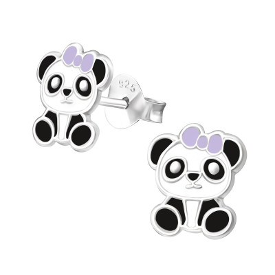 Children's Silver Panda Ear Studs with Epoxy
