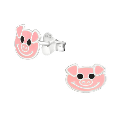 Children's Silver Pig Ear Studs with Epoxy